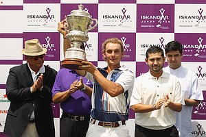 Joost Luiten after winning the Iskandar Open.