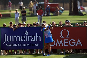Lexi Thompson plays her tee shot on the par 5, 18th hole during the fourth round of the 2011 Omega Dubai Ladies Masters.