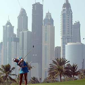 Lexi Thompson plays a shot in the final round of the 2011 Dubai Ladies Masters golf tournament.