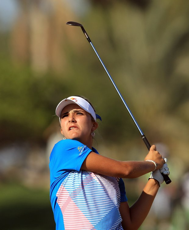 Lexi Thompson plays her second shot on the par 4, 14th hole during the fourth round of the 2011 Omega Dubai Ladies Masters.