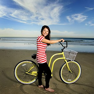 Ai Miyazato photographed in Newport Beach, California with a beach cruiser from Newport Cruisers.