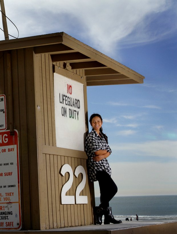 Ai Miyazato photographed in Newport Beach, California on a lifeguard stand during a shoot for Golfweek For Her.