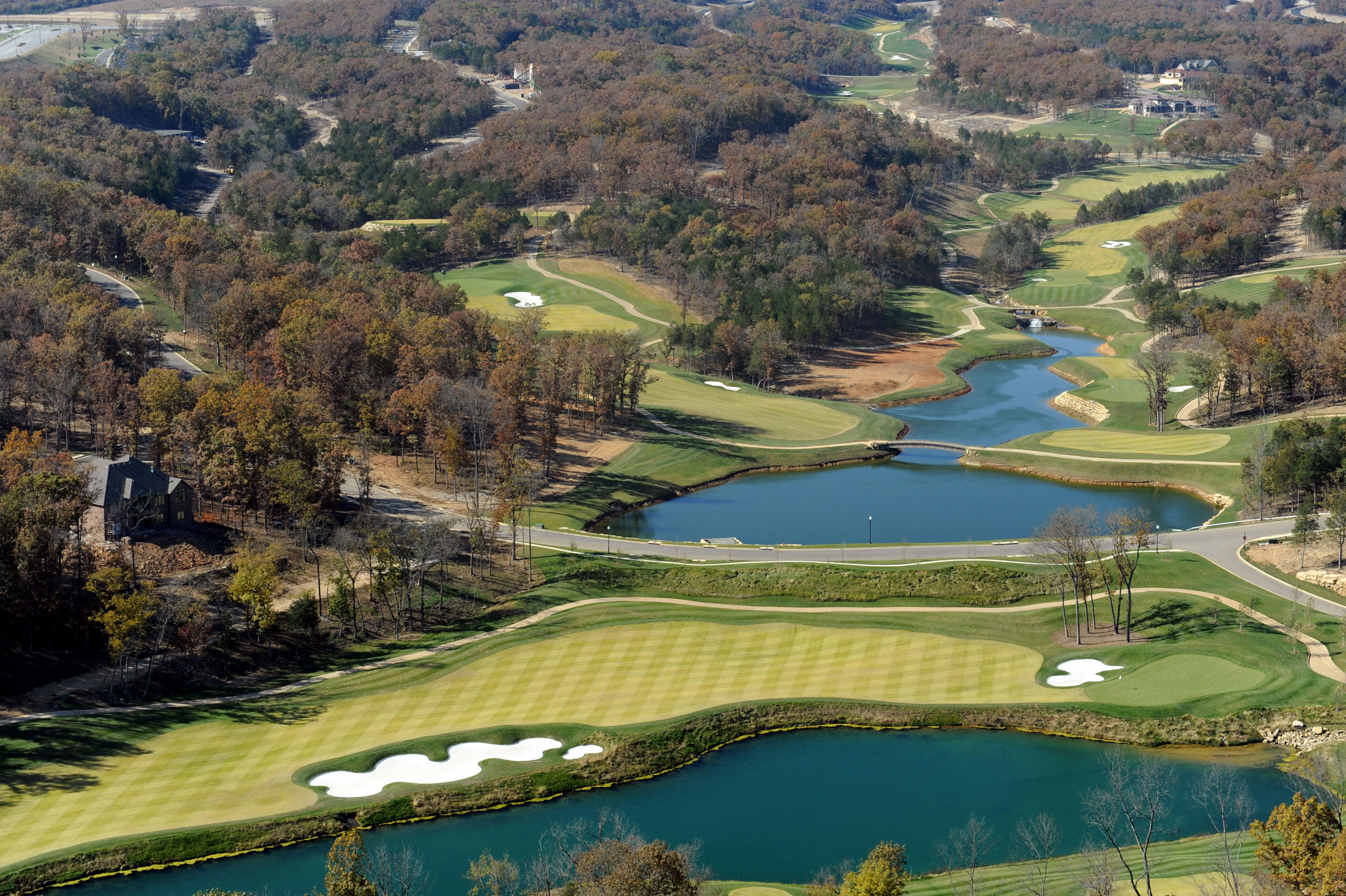 An aerial look at the Payne Stewart Golf Course.