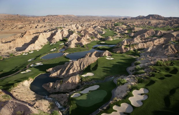 An aerial of the Wolf Creek Golf Course.