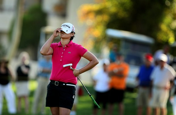 Yani Tseng reacts to missing her putt at No. 17 during the final round of the Kraft Nabisco Championship. She lost to Stacy Lewis, but went on to have 7 victories in the year.
