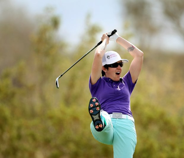 Mollie Fankhauser reacts to nearly acing No. 17 during Round 1 of the RR Donnelley LPGA Founders Cup at Wildfire Golf club at JW Marriott Desert Ridge Resort & Spa in Phoenix, Ariz.