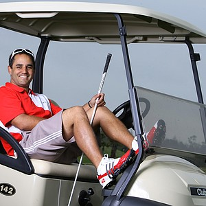 Nascar driver Juan Pablo Montoya at a recent LPGA International golf charity outing. Montoya was playing in the 38th annual Daytona 500 NASCAR/Celebrity Charity Golf Classic.