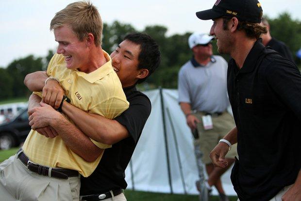 LSU's Sang Yi picks up John Peterson, the NCAA Individual winner, afterThursday stroke play at the 2011 NCAA Division I Men's Golf Championship at Karsten Creek in Stillwater, Oklahoma.
