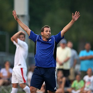 PGA Tour player Sergio Garcia reacts to his team, the Airmail Rovers FC, nearly making a goal during a friendly game of soccer at Davis Park prior to The Players Championship in Ponte Vedra Beach, FL.
