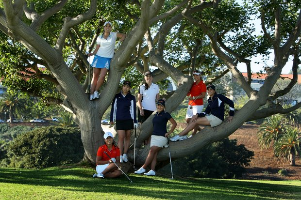 The Women's Golf team early in the 2011 season at Pepperdine University in Malibu, clockwise from top to the right, Taylore Karle, Liv Cheng, Danielle Gillaspy, Grace Na, Kaitlin Drolson, Martine de Gannes and bottom front Danielle Kang.