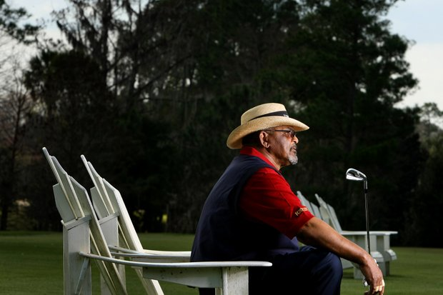 Champions Tour player Jim Thorpe photographed during an interview with Golfweek's Jeff Rude at Legacy Club at Alaqua Lakes in Lake Mary, Fla. Thorpe was released from prison in late January after a short stint for failing to pay income taxes.