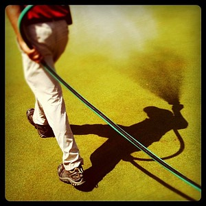 Some fun with an Iphone App called Instagram as the greens are watered down during the 2011 U. S. Girls Junior at Olympia Fields.