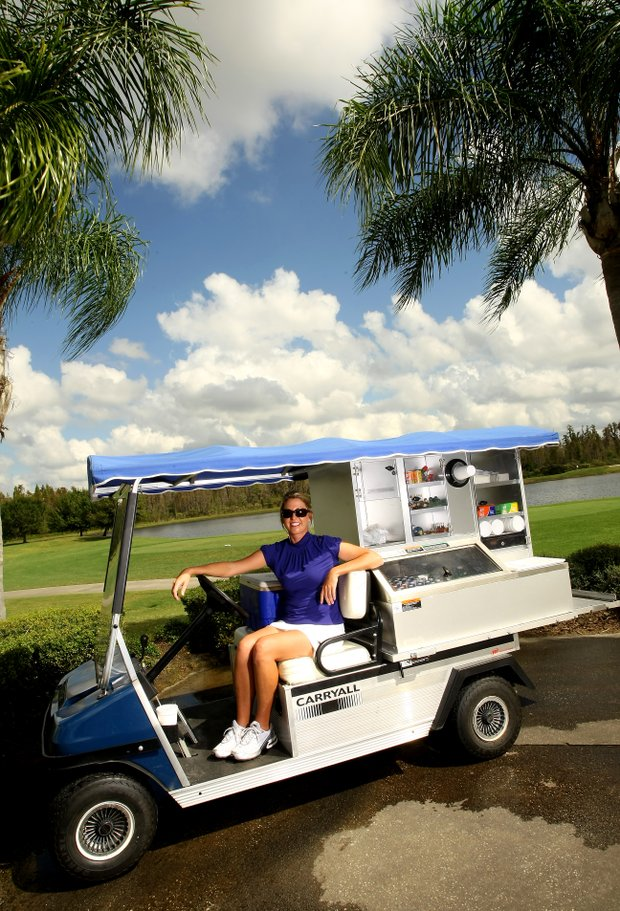 Beth Bauer, held a job as the beverage cart driver at Heritage Harbor Golf and Country Club in Lutz, Fla. Bauer helped Duke win the 1999 NCAA Championship.