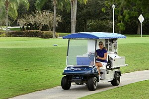 Former Duke golfer, Beth Bauer, cruised the fairways at Heritage Harbor Golf and Country Club in Lutz, Fla., where she was a beverage cart drive for a time. Bauer attended Phoenix University online obtaining a degree to be an elementary school teacher.