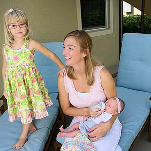 Catherine Tumbleson, formerly Cartwright with her family, Maci, left, and Ella, right. Cartwright attended classes at Florida Gulf Coast University. She graduated and became an elementary school teacher.