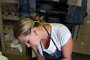 May Wood-Frederiksen photographed at Vanderbilt University. In 2007 Wood-Frederiksen went back to Vanderbilt University to compete her unfinished degree.