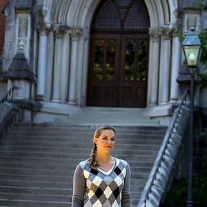 May Wood-Frederiksen photographed on campus at Vanderbilt University. In 2004 she was declared academically ineligible. Wood-Frederiksen has since gone back and finished a degree in art history.
