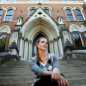 May Wood-Frederiksen photographed at Vanderbilt University.