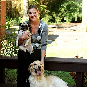 May Wood-Frederiksen photographed at her home in Nashville, TN. with her dogs.