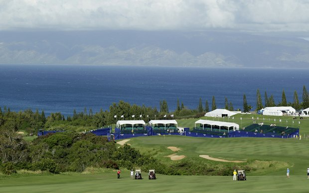 The 18th hole on the Plantation Course at Kapalua