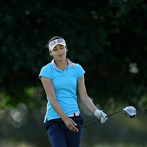 Regina Plasencia of Mexico reacts to her drive at No. 8.