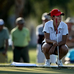 Isabelle Boineau waits her turn to putt at No. 9 during the 57th Harder Hall Women's Invitational. Boineau plays for the University of Arizona.