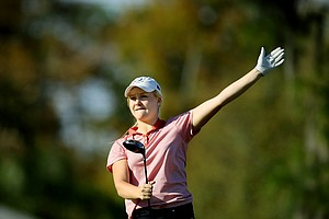 Charley Hull of England signals her ball left at No. 10. Hull won by two strokes.