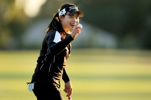 Moriya Jutanugarn is all smiles after she eagled No. 17, bringing her a little closer to the lead.