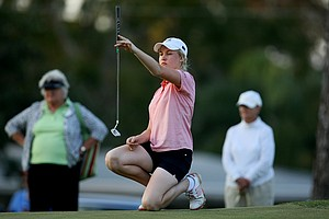 Charley Hull of England lines up a putt during the final round of the Harder Hall.