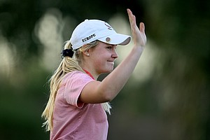 Charley Hull waves to the crowd after winning by two during the 57th Harder Hall Women's Invitational.
