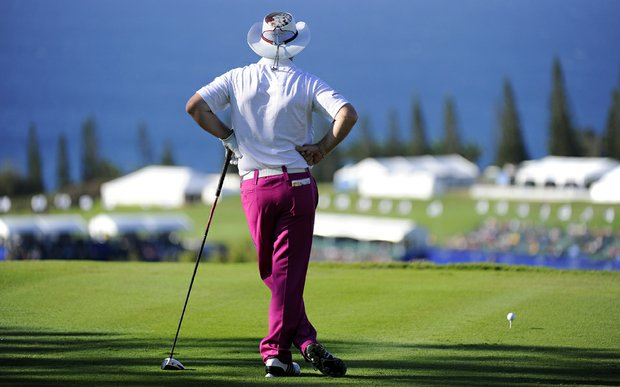 Rory Sabbatini stands on the 18th tee during Round 1 of the Hyundai Tournament of Champions.