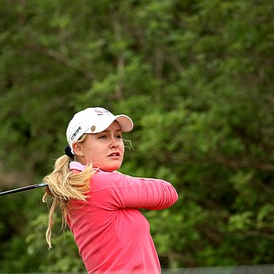 Charley Hull tees off at No. 2 during the first round. Hull posted a 72 and is currently in second place.