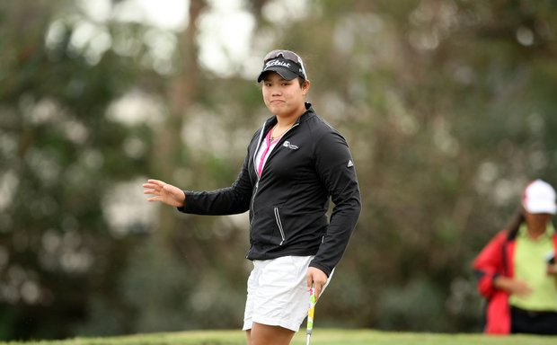 Ariya Jutanugarn acknowledges the crowd during the first round. She is in first with a 67.