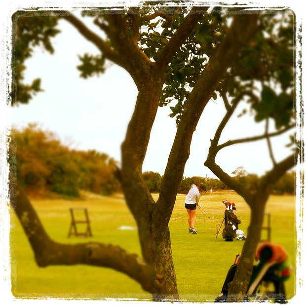 A player practices during the first round of the 86th South Atlantic Amateur at Oceanside Country Club.