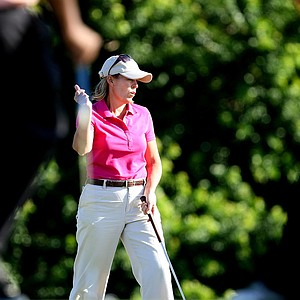 Mid-am Martha Leach pumps her fist during the second round of the South Atlantic Amateur.