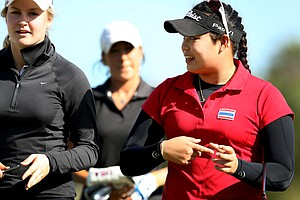 Ariya Jutanugarn laughs as she comes off the 18th green at Oceanside CC.