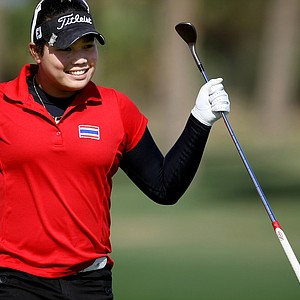 Ariya Jutanugarn exults during the second round of the South Atlantic Amateur.