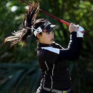 Moriya Jutanugarn hits her tee shot at No. 2 during the final round of the 86th South Atlantic Amateur at Oceanside Country Club.