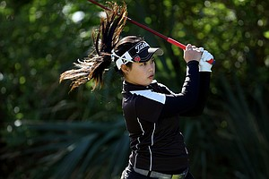 Moriya Jutanugarn hits her tee shot at No. 2 during the final round of the 86th South Atlantic Amateur at Oceanside Country Club.