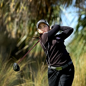 Moriya Jutanugarn watches a tee shot during the final round of the 86th South Atlantic Amateur at Oceanside Country Club.
