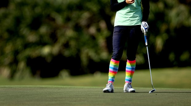 Jaye Marie Green sports the knee highs during the final round of the 86th South Atlantic Amateur at Oceanside Country Club.