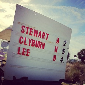 The scoreboard from the second to last group during the final round of the 86th South Atlantic Amateur at Oceanside Country Club.