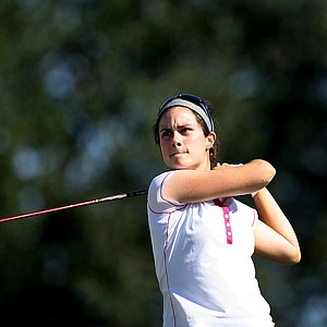 Jordan Ferreira watches her tee shot at No. 9 during the second round. Ferreira shot a second round 75.