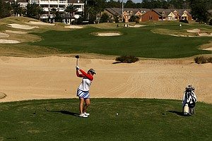 Samantha Wagner hits her tee shot at No. 16 during the second round. Wagner shot a 67 and is tied for the lead.