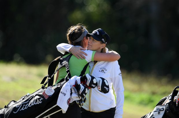Annika Sorentstam gives Jordan Ferreira a hug after the final round. Ferreira posted a tournament total 223.
