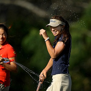 Alison Lee is sprayed with water by Annie Park and Bethany Wu(not pictured) after winning the 2012 Annika Invitational.