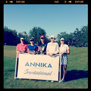 The top five players from the 2012 Annika Invitational at Reunion Resort pose with their glass trophies. From left, Andrea Lee (T3), Shannon Aubert(2), Alison Lee(1), Simin Feng(T3) and Ashlan Ramsey(T3).