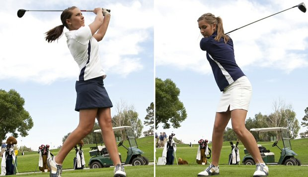 Sisters Chelsea (left) and Carleigh (right) Silvers of the Northern Colorado women's golf team