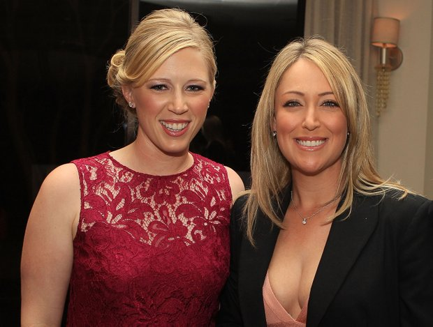 Morgan Pressel, left, and Cristie Kerr arrive to the Morgan and Friends opening evening event at the St. Andrews Country Club in Boca Raton, Florida.