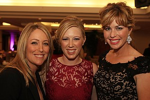 Cristie Kerr, left, Morgan Pressel, center, and Paula Creamer attend the Morgan and Friends opening evening event at the St. Andrews Country Club in Boca Raton, Florida.